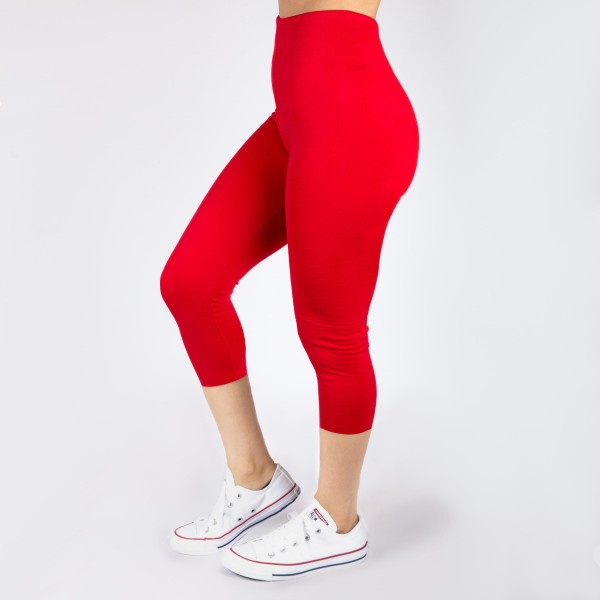 New Kathy / New Mix red, summer-weight capris are seamless, chic, and a must-have for every wardrobe. These lightweight, interchangeable styles are versatile, perfect for layering, and available in many shades. Smooth fabric, 92% Nylon 8% Spandex. One size fits most, fits US women's 0-14.