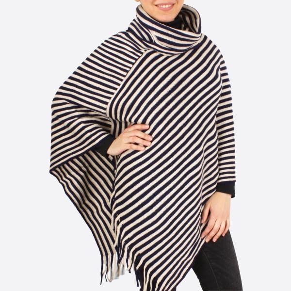 Beautiful, Heavyweight navy and ivory acrylic fabric poncho