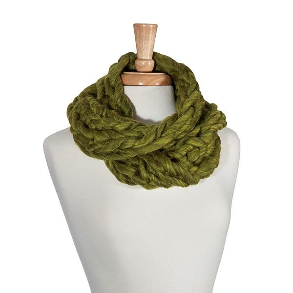 Olive green chunky knit infinity scarf. 100% Acrylic.   731807 ...