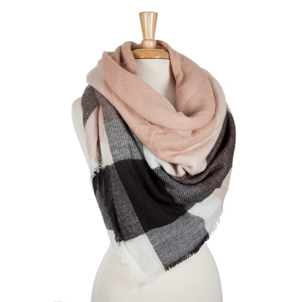7509178bb5e Mauve, black and white plaid blanket scarf. 100% acrylic. | 732230 ...