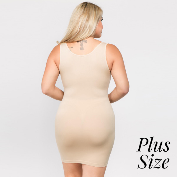 The traditional ribbed tank dress is in for the long haul with memory fibers that hug curves like an hour glass. Extended hemline ends above the knee in a classic body-con style. 