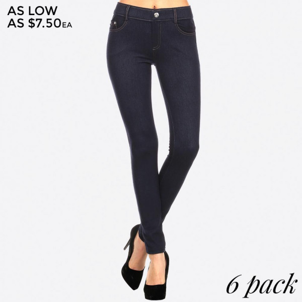 Navy blue denim jeggings with real front and pack pockets.  90% polyester and 10% spandex. Sold in packs of six - two S/M and four M/L. Fit runs small.