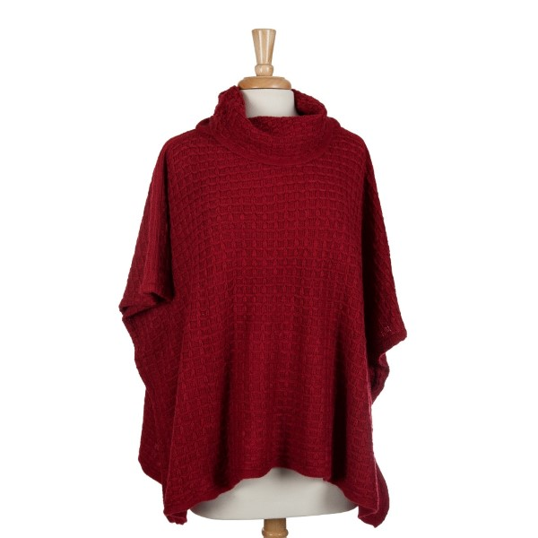 Crimson Short Sleeve Turtle Neck Poncho Top With A Cable Knit