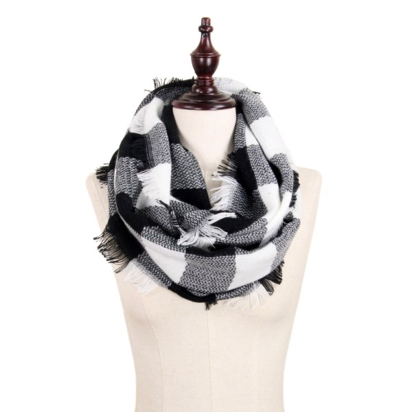 Wholesale black white buffalo plaid infinity scarf frayed edges acrylic