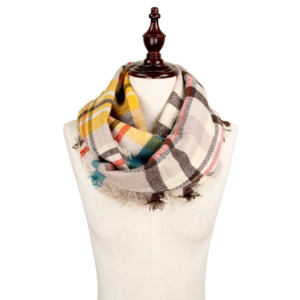"Ivory Brown multicolor plaid infinity scarf.   - Approximately 13.5"" W x 31.5"" L - 100% Acrylic"