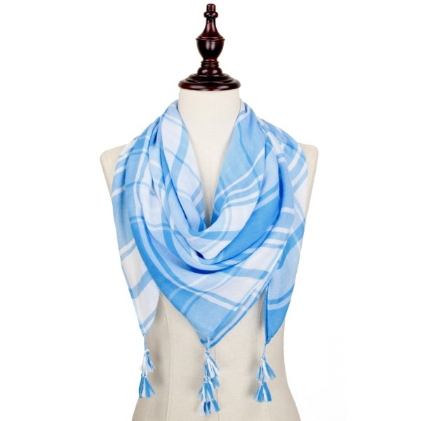 Light blue and white lightweight plaid scarf with tassels. 100% polyester.