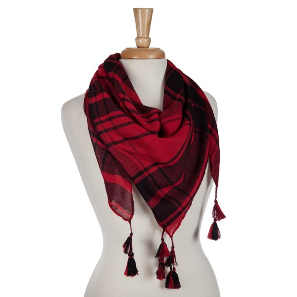 Black and red lightweight plaid scarf with tassels. 100% polyester.