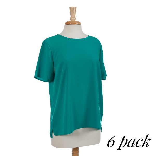 Emerald green short sleeve top with a keyhole back and a split hem. 100% polyester. Sold in packs of six - two smalls, two mediums, two larges.