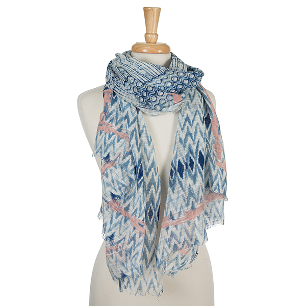 Wholesale navy blue white open scarf tie dye print pale pink accents cotton