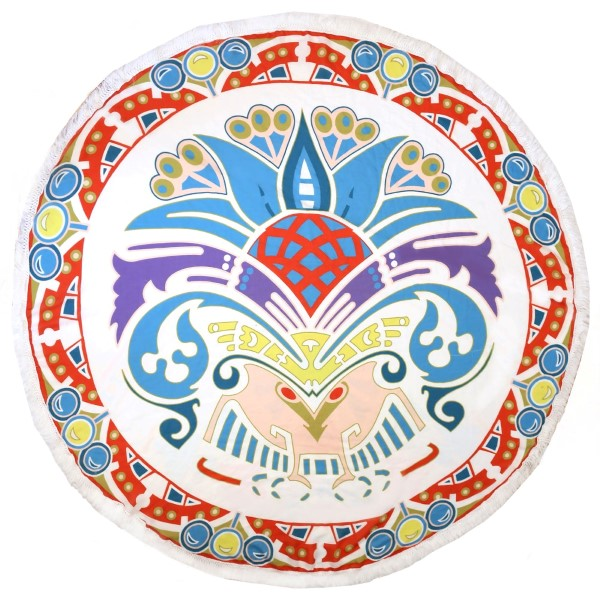 """Ivory roundie displaying a purple, red, teal and turquoise pattern and a fringe edge can be used as a beach throw, rug or tapestry. 100% viscose. Approximately 72"""" in diameter."""