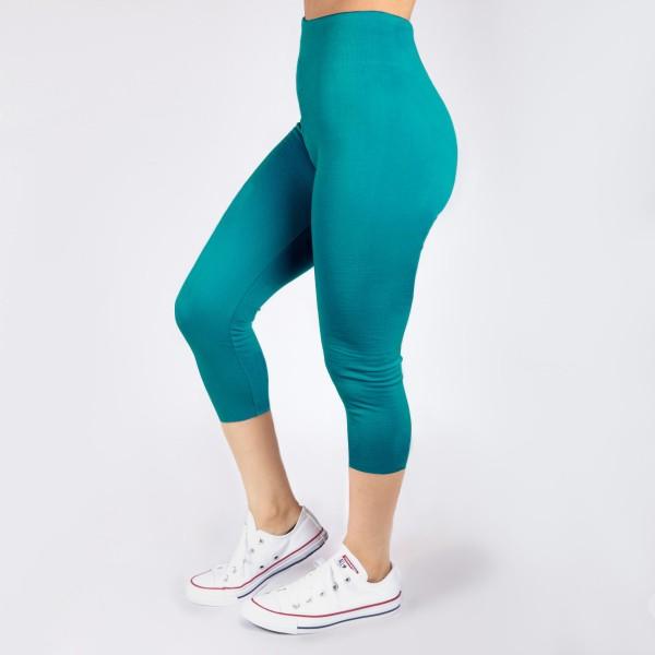 Wholesale dark teal capri leggings Summer weight Made polyester Spandex blend On