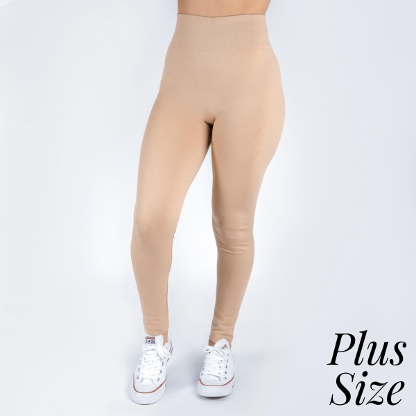 New Kathy / New Mix plus size khaki, summer-weight leggings are seamless, chic, and a must-have for every wardrobe. These lightweight, full-length leggings are versatile, perfect for layering, and available in many shades. Smooth fabric, 92% Nylon 8% Spandex. One size, fits US women's 16-20.