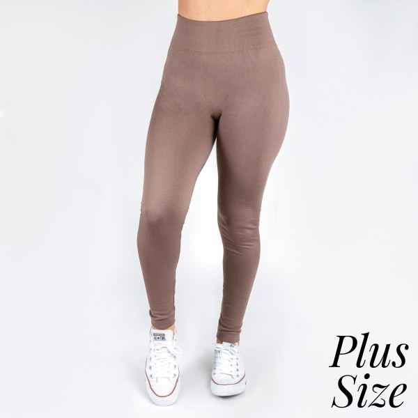 New Kathy / New Mix plus size mocha, summer-weight leggings are seamless, chic, and a must-have for every wardrobe. These lightweight, full-length leggings are versatile, perfect for layering, and available in many shades. Smooth fabric, 92% Nylon 8% Spandex. One size, fits US women's 16-20.