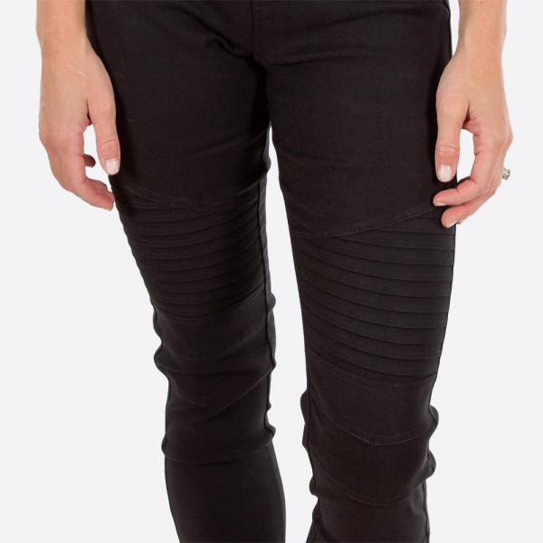 """Black Moto Jeggings with faux front pockets and real back pockets. 65% polyester, 30% cotton, and 5% spandex. 28"""" inseam. Sold in packs of six - three S/M and three L/XL. Approximate fit in U.S. sizes: S/M 4-8 & L/XL 10-14"""