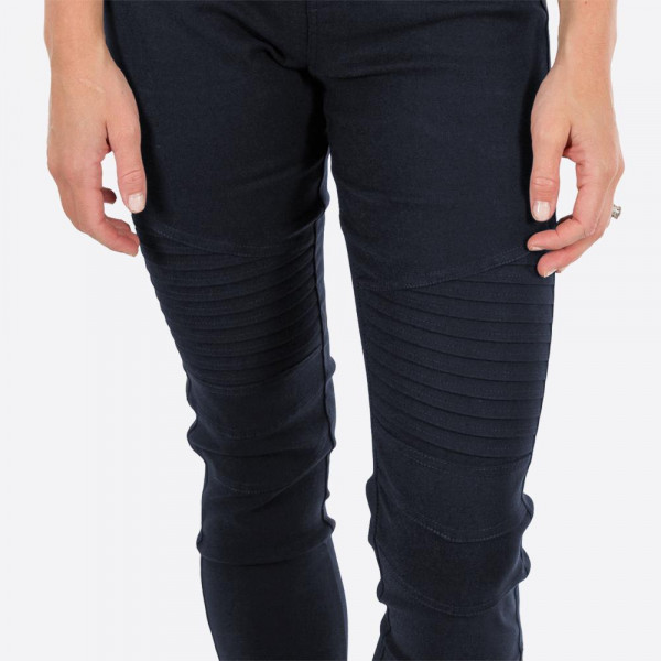 """Navy blue Moto Jeggings with faux front pockets and real back pockets. 65% polyester, 30% cotton, and 5% spandex. 28"""" inseam. Sold in packs of six - three S/M and three L/XL. Approximate fit in U.S. sizes: S/M 4-8 & L/XL 10-14"""