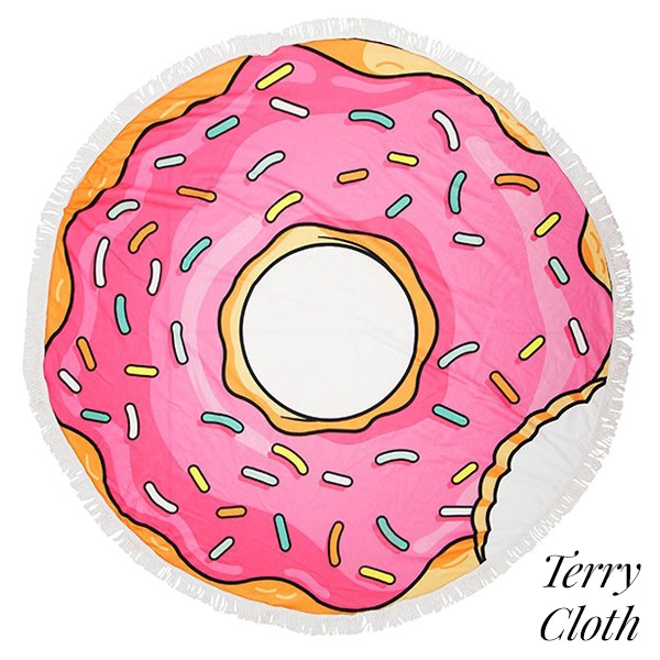 d5eac9708e9 Wholesale donut printed terry cloth roundie beach towel frayed edges  polyester c