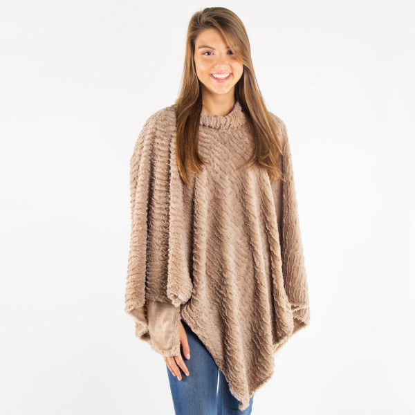 Mock turtleneck faux fur poncho.  - One size fits most 0-14 - 100% Polyester