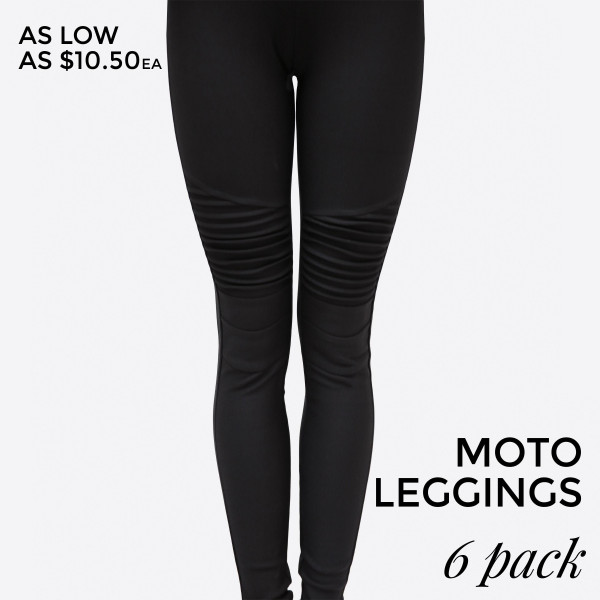 Black, moto leggings with no front or back pockets. 68% cotton, 27% polyester, and 5% spandex. Sold in packs of six - one small, two mediums, two larges, one extra large.  Dress Size Small   1,3 Medium5,7 Large 9,11 XLarge  13,14