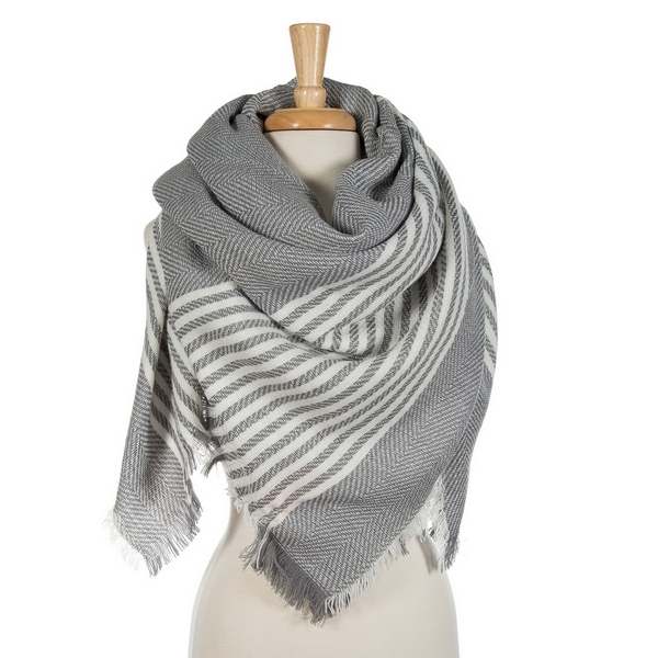 Wholesale gray white striped blanket scarf acrylic