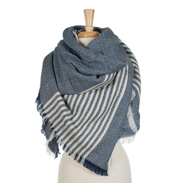 Wholesale navy blue white striped blanket scarf acrylic
