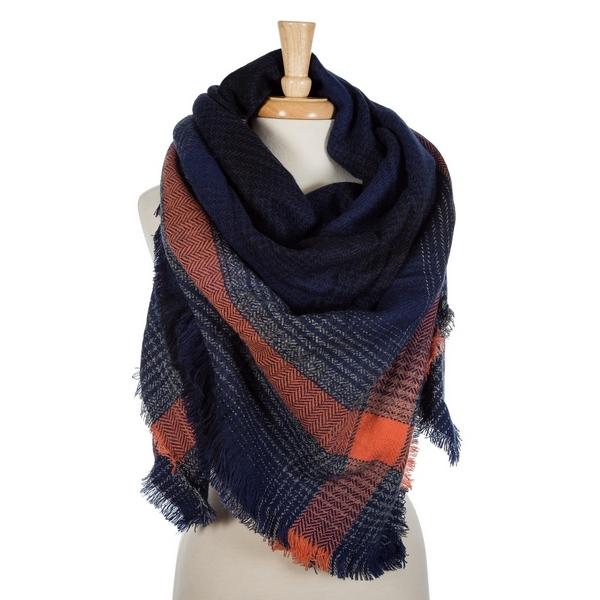 Wholesale navy blue orange plaid blanket scarf frayed edges acrylic