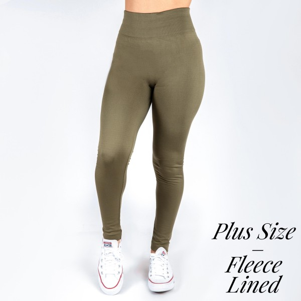 PLUS SIZE - New Mix Brand, full length, fleece lined, winter weight leggings offered in everyday essential colors to coordinate with long tops, skirts, or to wear underneath clothing to keep warm.  92% Nylon and 8% Spandex. One size, fits US women's 16-20.