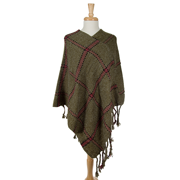 Wholesale olive green poncho plaid tassel accents acrylic One fits most