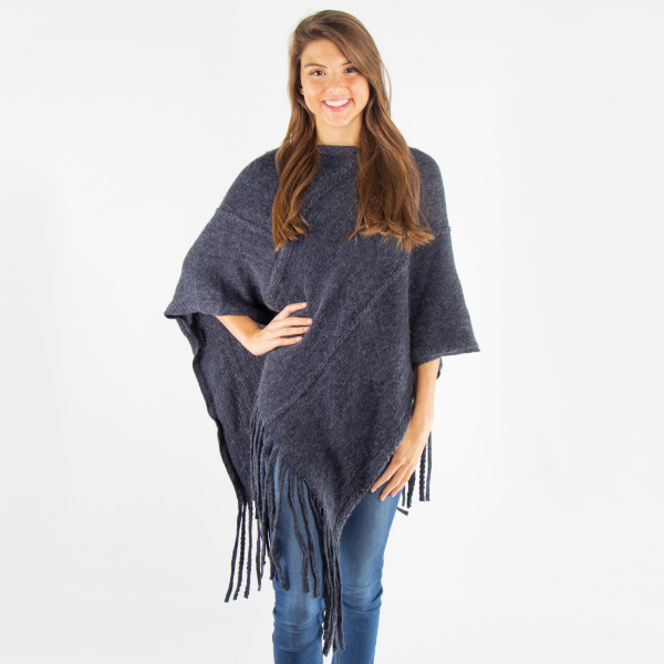 Wholesale navy blue knit poncho tassel twist trim acrylic One fits most