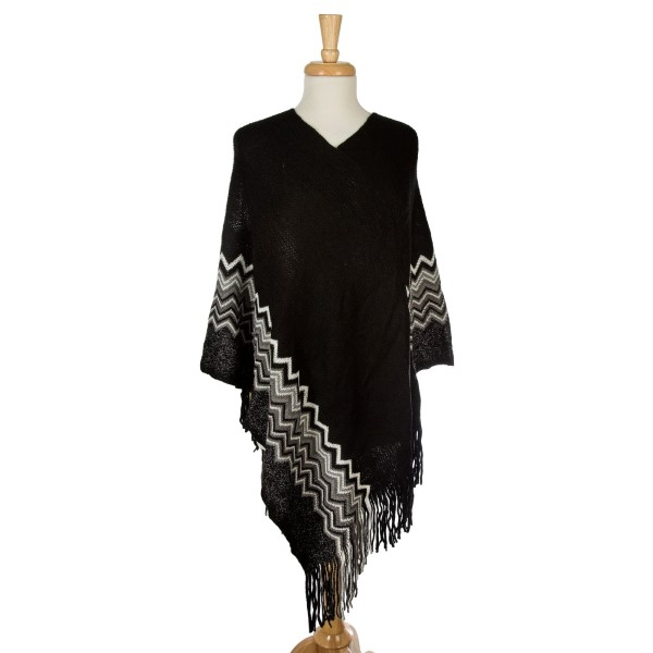 Wholesale knit poncho chevron pattern along bottom metallic detailing acrylic On