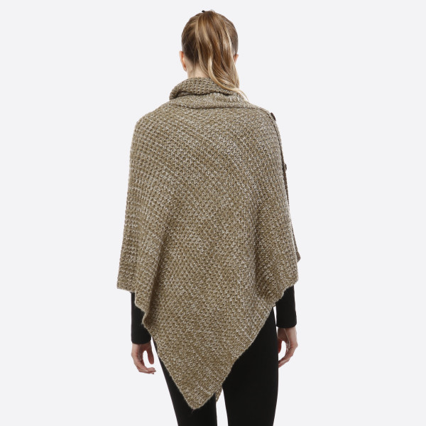 Heavyweight, knit poncho, turtleneck sweater top with wooden button accents. 100% acrylic. One size fits most.