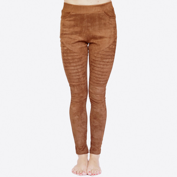 Faux suede Moto Pants featuring elastic waistband and front/back pockets.   • Elastic at Waist  • Functional Front & Back Pockets  • Skinny Fit  • Pull-Up Style  • Mid Rise  • Care: Machine Wash Cold, Do not Bleach, Tumble Dry Low, Iron Low  • Imported   Composition: 90% Polyester, 10% Spandex   Pack Breakdown: 6pcs/pack. 2S: 2M: 2L