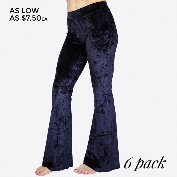 Wholesale crushed Velvet Flare Pants hip hugging fit pull up front closure flare