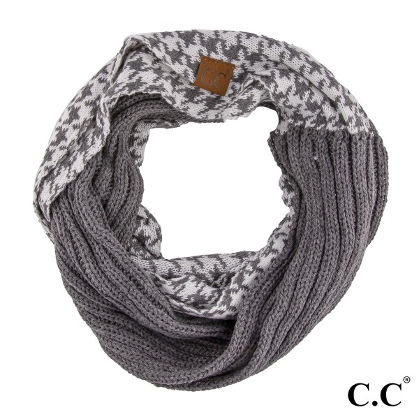 Cc Brand Knit Infinity Scarf With A Houndstooth Pattern 100