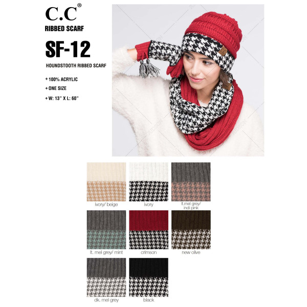 "C.C brand knit infinity scarf with a houndstooth pattern. 100% acrylic. Measures 15"" x 33"" in size."