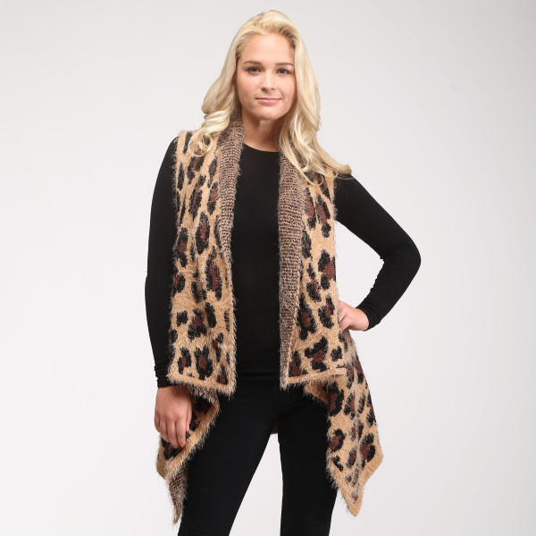 "Fuzzy leopard print vest.  - One size fits most 0-14 - Approximately 26"" in length - 100% Acrylic"