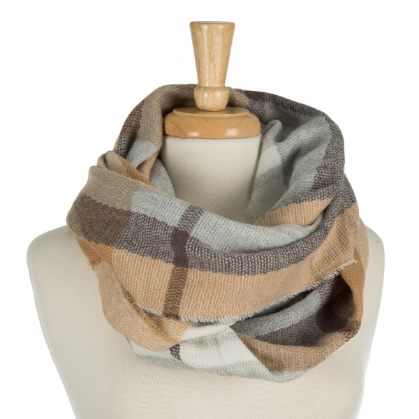 """Heavyweight plaid, infinity scarf. 100% acrylic. Measures 20"""" x 36"""" in size."""
