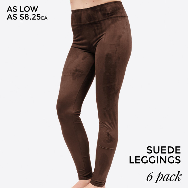 Solid, faux suede leggings are perfect for layering under tunics, tops and dresses. Super soft feel and ultra comfortable. Leggings come in a pack of six - two smalls, two mediums, two larges. 90% polyester and 10% spandex. Small: 0-4, Medium: 6-8, Large: 10-12.