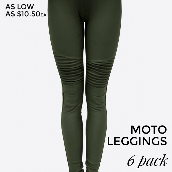 Olive green, moto leggings with no front or back pockets. 68% cotton, 27% polyester, and 5% spandex. Sold in packs of six - one small, two mediums, two larges, one extra large.