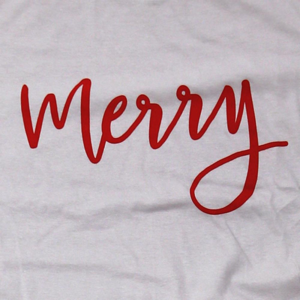 Merry - Short Sleeve Boutique Graphic Tee. These t-shirts are sold in a 6 pack. S:1 M:2 L:2 XL:1 Color: Gray, 50% Cotton 50% Polyester Brand: Anvil