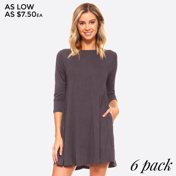 Wholesale lightweight jersey knit dress sweeps across rounded neckline falls fit