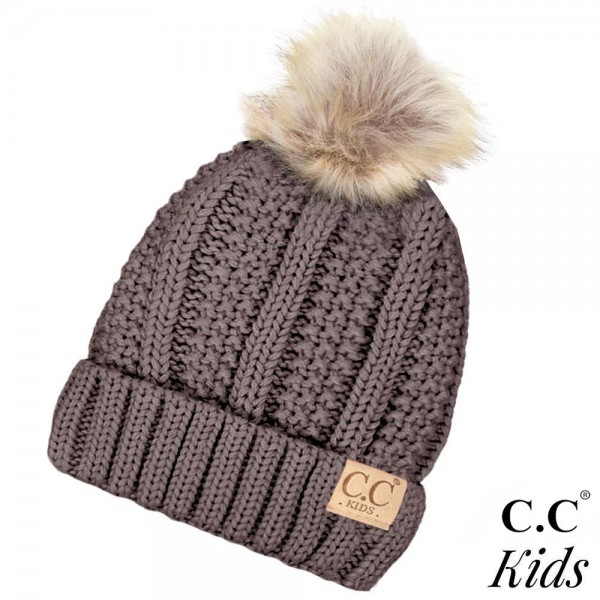 5fcffd30ccd KIDS-820  C.C Kids Exclusive faux fur pom pom beanie. 100% acrylic.  Measures 7
