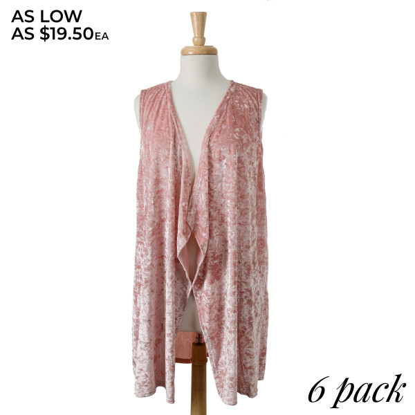 Crushed velvet vest with a tapered front. 95% viscose and 5% spandex. Sold in packs of six - three S/M and three L/XL.