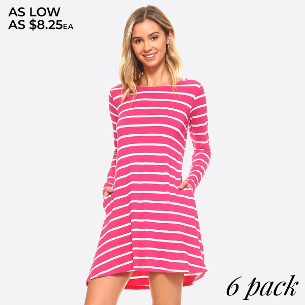 Fit for a queen, yet casual enough for the rest of us, the Long sleeve Stripe Dress With V-Drop on the back packs chic, versatile style into one very chic dress!   - Scoop Neckline  - Long Sleeve  - Side Pockets  - Closure Style: Pullover  - Rayon/Spandex  - Machine wash, lay flat to dry   Content: 95% Rayon, 5% Spandex   Pack Breakdown: 6pcs/pack. 2S: 2M: 2L