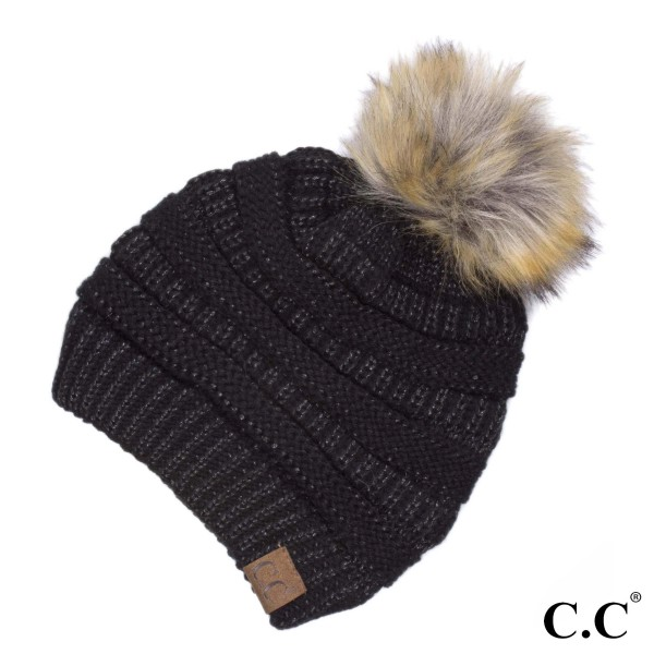 Metallic thread, cable knit, original C.C beanie with a faux fur pom pom, in black. 100% acrylic.