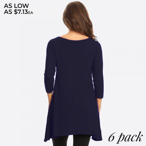Lightweight jersey knit Tunic sweeps across a rounded neckline and falls to fitted three-quarter sleeves. Comfy swing silhouette flares gently to a perfect finish. Hidden side seam pockets.   - Relax Scoop Neckline - Fitted Sleeves - Side Pockets - Swing Style Bodice - Solid Color - Closure Style:Pullover - Hand Wash Cold/Tumble Dry/Iron Low/Do Not Dry Clean - Imported  Content: 95% Rayon, 5% Spandex  PackBreakdown: 6pcs/pack 2S:2M:2L
