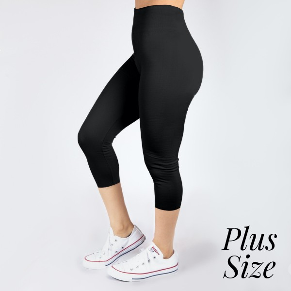 PLUS SIZE - New Mix black, summer-weight capris are seamless, chic, and a must-have for every wardrobe. These lightweight, interchangeable styles are versatile, perfect for layering, and available in many shades. Smooth fabric, 92% Nylon 8% Spandex. One size, fits US women's 16-20.