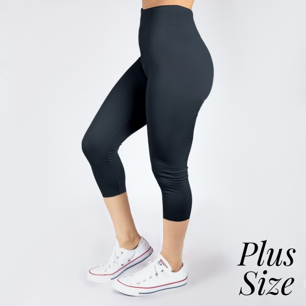 PLUS SIZE - New Mix charcoal, summer-weight capris are seamless, chic, and a must-have for every wardrobe. These lightweight, interchangeable styles are versatile, perfect for layering, and available in many shades. Smooth fabric, 92% Nylon 8% Spandex. One size, fits US women's 16-20.