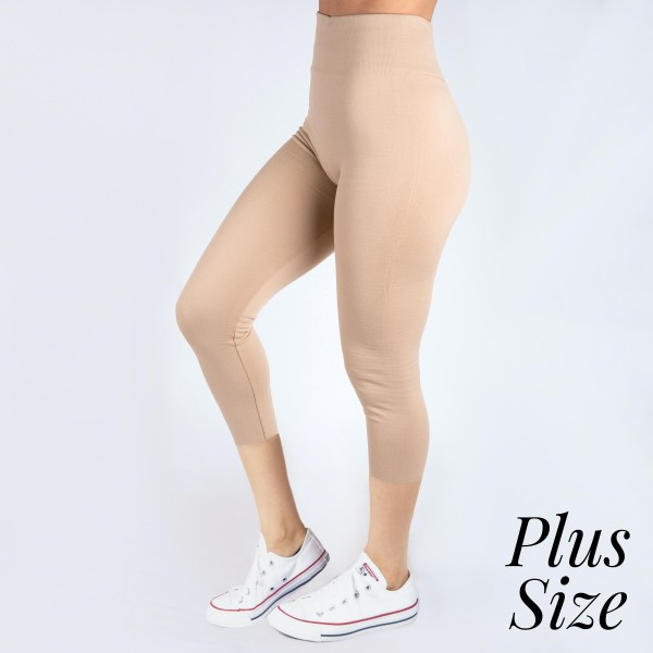 PLUS SIZE - New Mix khaki, summer-weight capris are seamless, chic, and a must-have for every wardrobe. These lightweight, interchangeable styles are versatile, perfect for layering, and available in many shades. Smooth fabric, 92% Nylon 8% Spandex. One size, fits US women's 16-20.