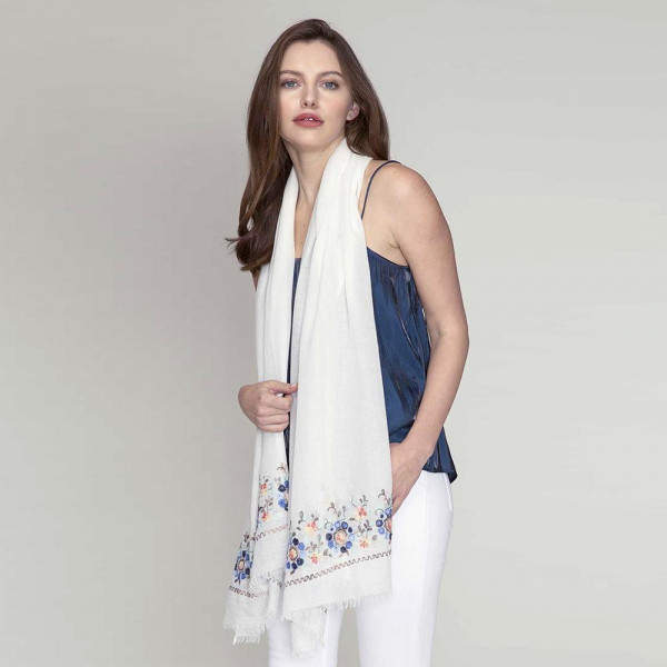 Wholesale lightweight solid scarf floral embroidery ends viscose polyester