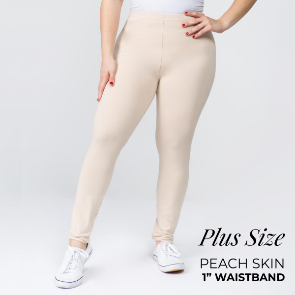 "These New Mix Brand peach skin leggings are seamless, chic, and a must-have for every wardrobe. These lightweight, full-length leggings have a 1"" waistband. They are versatile, perfect for layering, and available in many colors. 92% Polyester 8% Spandex. One size, fits US women's 16-20."